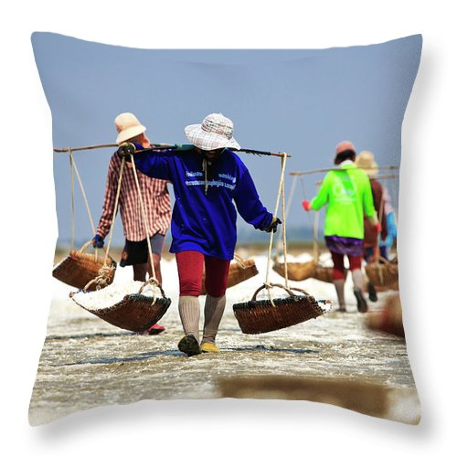 Child Throw Pillow featuring the photograph Salt Farm In Thailand by Monthon Wa