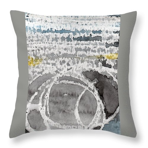Water Throw Pillow featuring the painting Saltwater- Abstract Painting by Linda Woods