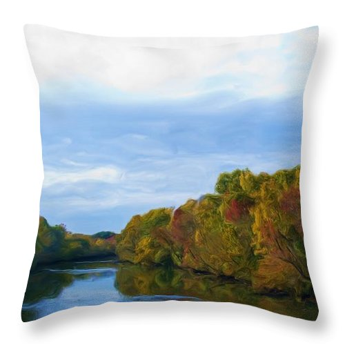 Saluda River Throw Pillow featuring the painting Saluda River In The Fall by Steven Richardson