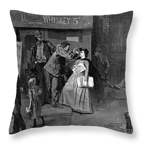 1894 Throw Pillow featuring the photograph Salvation Army In Slums by Granger