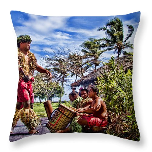 Samoa Throw Pillow featuring the photograph Samoan Torch Bearer by David Smith