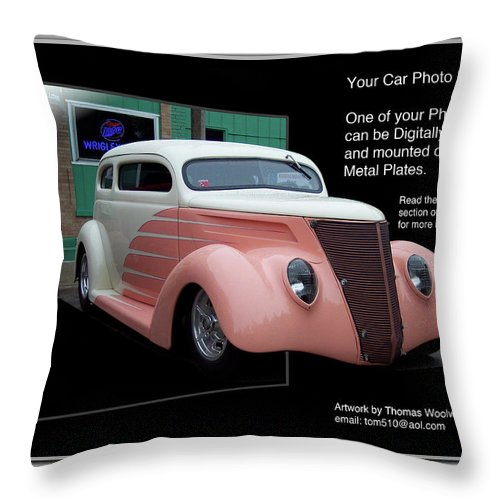 Out Of Bounds Throw Pillow featuring the photograph Sample Car Artwork Readme by Thomas Woolworth
