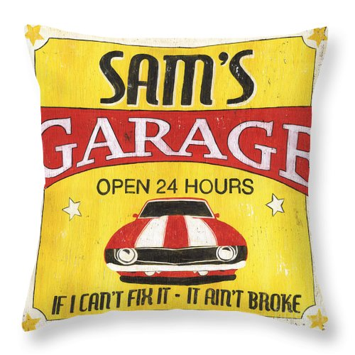 Sam Throw Pillow featuring the painting Sam's Garage by Debbie DeWitt