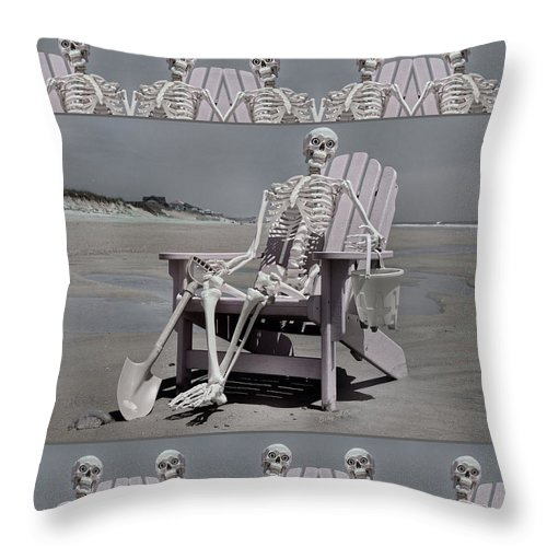 Human Throw Pillow featuring the mixed media Sam's Humerus Office Wall Decor by Betsy Knapp