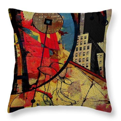 San Antonio Throw Pillow featuring the painting San Antonio 004 C by Corporate Art Task Force