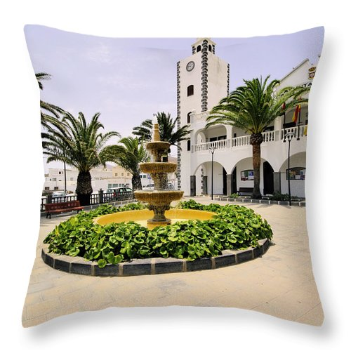 Green Throw Pillow featuring the photograph San Bartolome by Karol Kozlowski