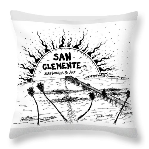 Sanclementepierdrawingprint Throw Pillow featuring the drawing San Clemente Pier by Paul Carter