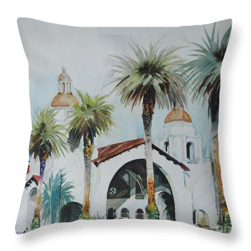 Landscape Throw Pillow featuring the painting San Diego by P Anthony Visco
