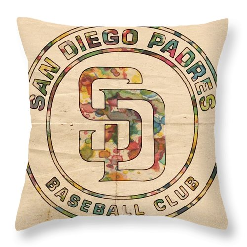 San Diego Padres Throw Pillow featuring the painting San Diego Padres Logo Art by Florian Rodarte