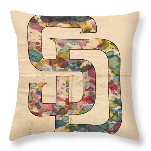San Diego Padres Throw Pillow featuring the painting San Diego Padres Logo Vintage by Florian Rodarte
