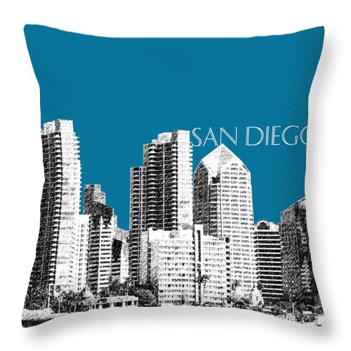 Architecture Throw Pillow featuring the digital art San Diego Skyline 1 - Steel by DB Artist