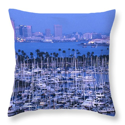Panoramic Throw Pillow featuring the photograph San Diego Twilight by Sandra Bronstein