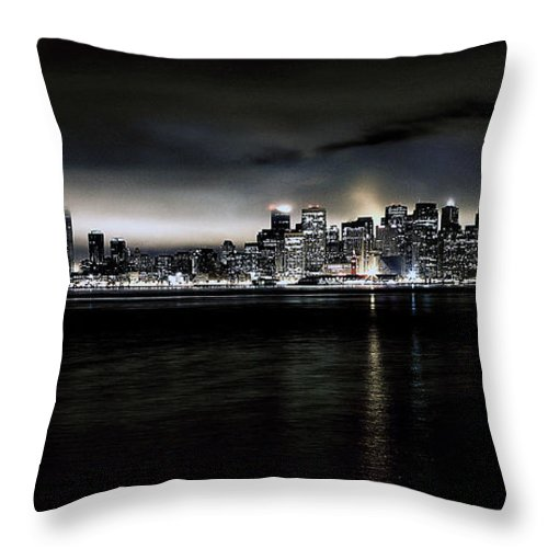 City By The Bay Throw Pillow featuring the photograph Across The Bay Version A by Digital Kulprits