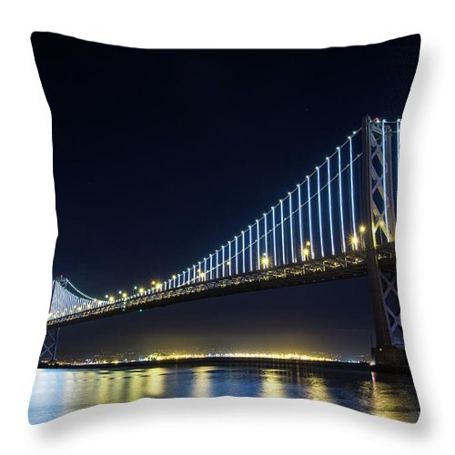 California Throw Pillow featuring the photograph San Francisco Bay Bridge With Led Lights by Halbergman