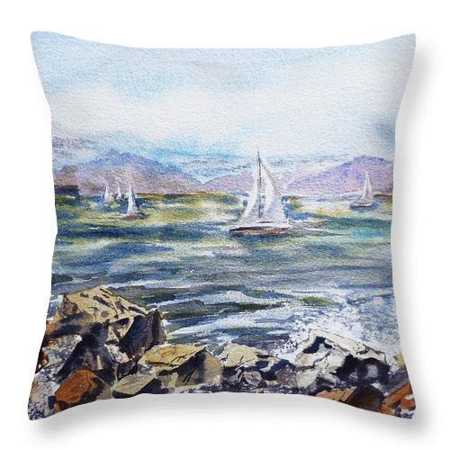 Boats Throw Pillow featuring the painting San Francisco Bay From Richmond Shore Line by Irina Sztukowski