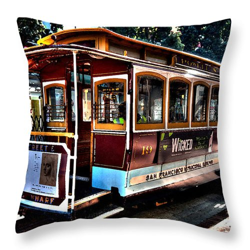 San Francisco Cable Car Painting Throw Pillow featuring the mixed media San Francisco Cable Car Painting by Marvin Blaine