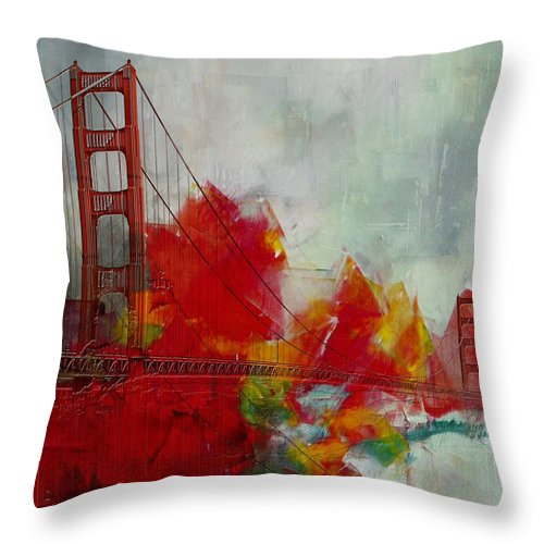 San Francisco Bay Throw Pillow featuring the painting San Francisco City Collage by Corporate Art Task Force