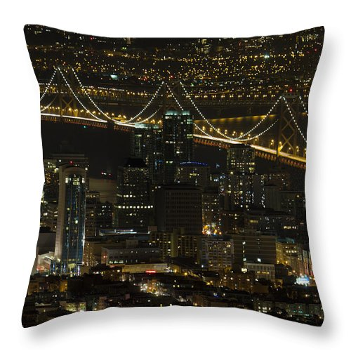 San Throw Pillow featuring the photograph San Francisco Cityscape With Oakland Bay Bridge At Night by David Gn
