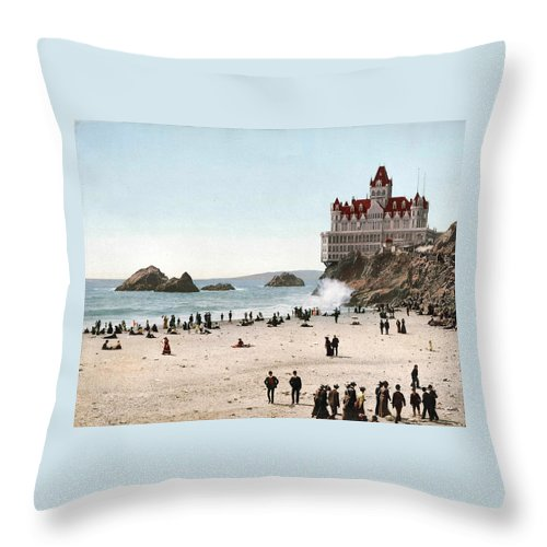 San Francisco Cliff House 1902 Throw Pillow featuring the digital art San Francisco Cliff House 1902 by Unknown