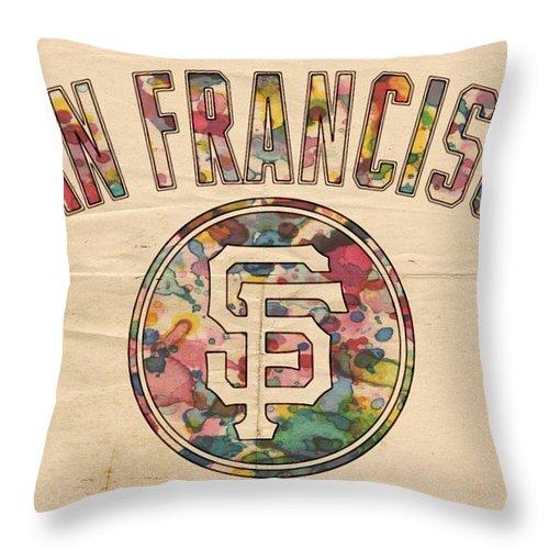 San Francisco Giants Throw Pillow featuring the painting San Francisco Giants Logo Vintage by Florian Rodarte