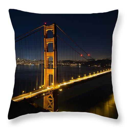 San Throw Pillow featuring the photograph San Francisco Golden Gate Bridge At Blue Hour by Jit Lim