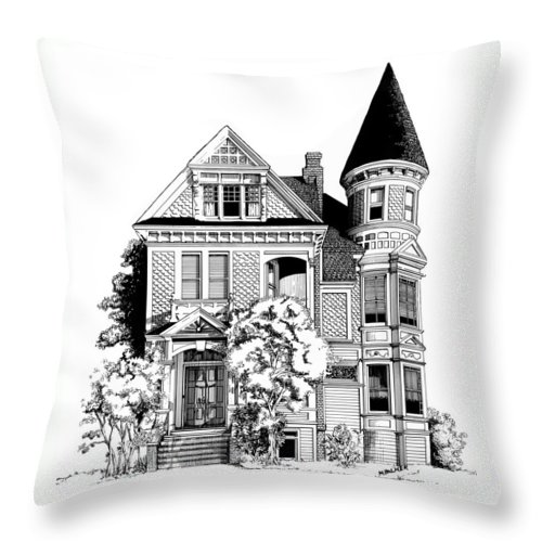 Pen And Ink Throw Pillow featuring the drawing San Francisco Victorian by Mary Palmer