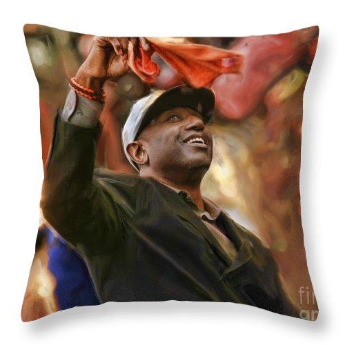 San Fransco Gaints Throw Pillow featuring the photograph San Fransco Giants Barry Bonds by Blake Richards