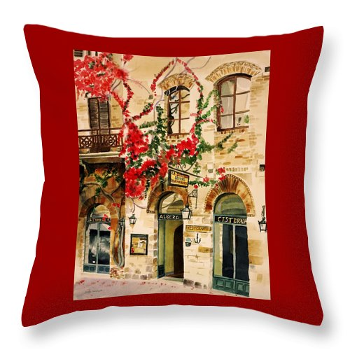 Award-winning Throw Pillow featuring the painting San Gimignano by Judy Swerlick