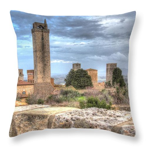 Aged Throw Pillow featuring the photograph San Gimignano by Ulisse