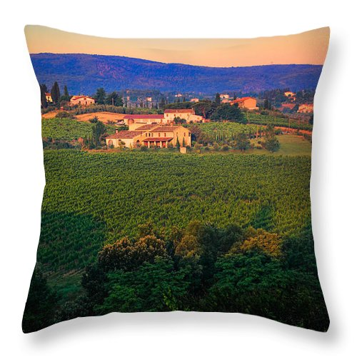 Europe Throw Pillow featuring the photograph San Gimignano Vineyards by Inge Johnsson