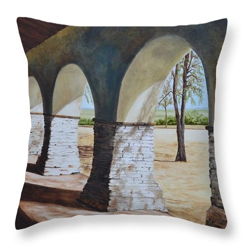 California Landmark Throw Pillow featuring the painting San Juan Bautista Mission by Mary Rogers