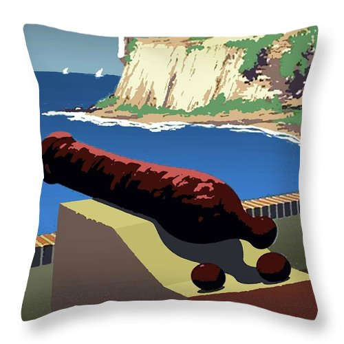 Vintage Throw Pillow featuring the photograph San Juan National Historic Site Vintage Poster by Eric Glaser