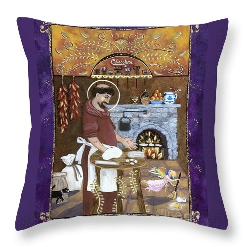Sue Betanzos Throw Pillow featuring the painting San Pascual by Sue Betanzos