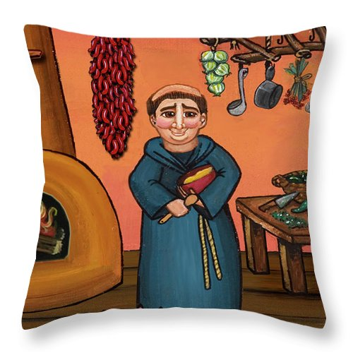 Folk Art Throw Pillow featuring the painting San Pascual And Vigas by Victoria De Almeida