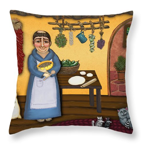 San Pascual Throw Pillow featuring the painting San Pascuals Kitchen 2 by Victoria De Almeida