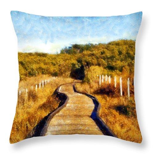 San Simeon State Park Throw Pillow featuring the digital art San Simeon Boardwalk by Kaylee Mason