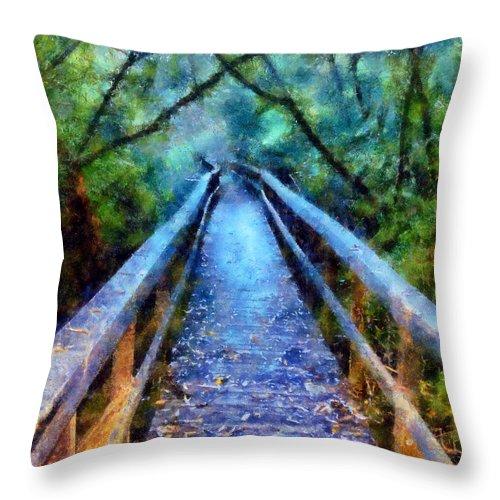 San Simeon State Park Throw Pillow featuring the digital art San Simeon Foot Bridge by Kaylee Mason