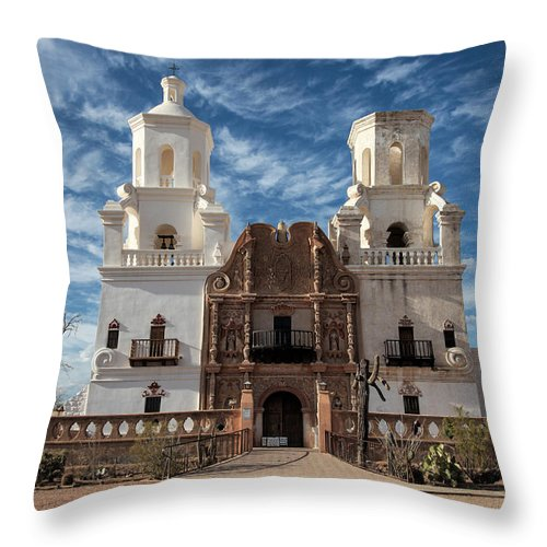 Arizona Throw Pillow featuring the photograph San Xavier by Kathy Osmus