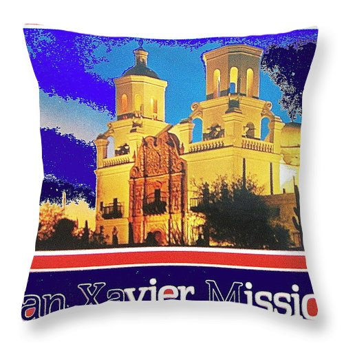 San Xavier Mission The High Chaparral Nbc Kvoa Tv Old Tucson David Dortort Throw Pillow featuring the photograph San Xavier Mission Postcard #1 With Lettering No Date-2013 by David Lee Guss