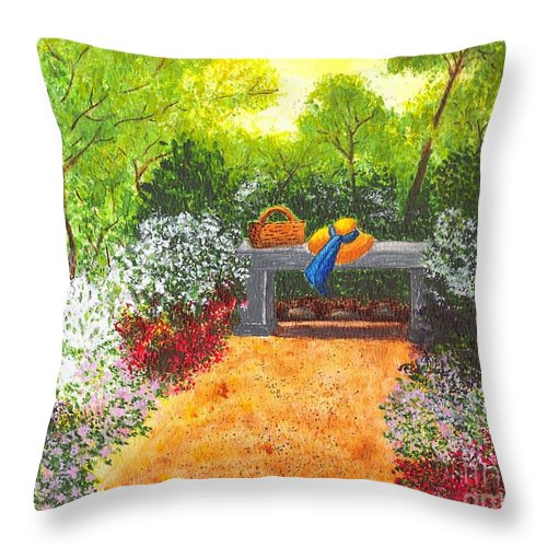 Garden Painting Throw Pillow featuring the painting Sanctuary by Patricia Griffin Brett