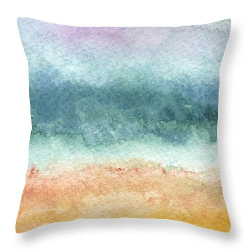 Abstract Throw Pillow featuring the painting Sand and Sea by Linda Woods