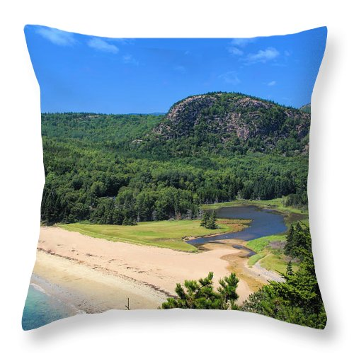 Sand Beach And The Beehive Throw Pillow featuring the photograph Sand Beach And The Beehive by Jemmy Archer
