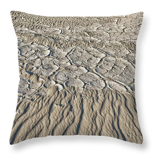 Death Valley Throw Pillow featuring the photograph Sand Dunes Like Fine Cloth by Angela Stanton