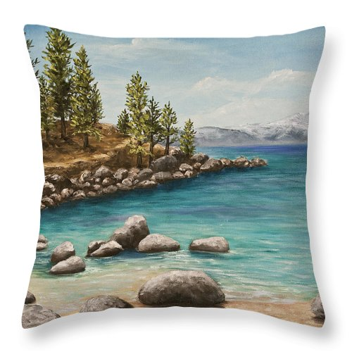 Landscape Throw Pillow featuring the painting Sand Harbor Lake Tahoe by Darice Machel McGuire