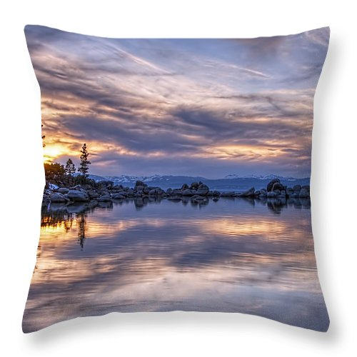 Landscape Throw Pillow featuring the photograph Sand Harbor by Maria Coulson