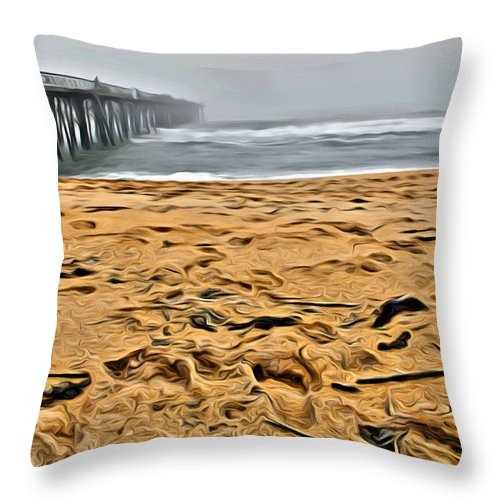 Flagler Beach Throw Pillow featuring the photograph Sand On The Beach by Alice Gipson