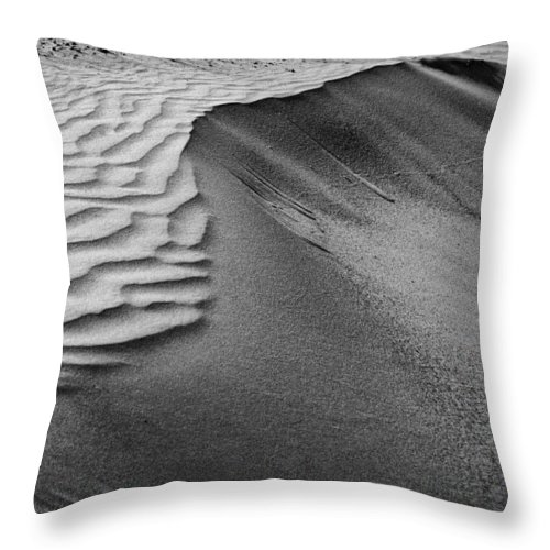 Abstract Throw Pillow featuring the photograph Sand Pattern Abstract - 2 - Black And White by Nikolyn McDonald