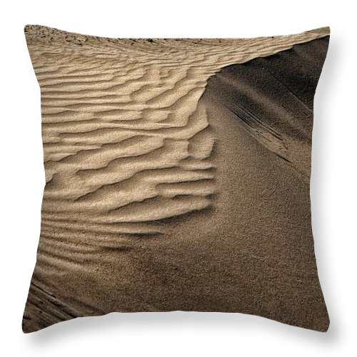 Abstract Throw Pillow featuring the photograph Sand Pattern Abstract - 2 by Nikolyn McDonald
