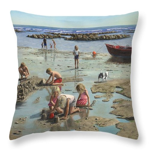 Landscape Throw Pillow featuring the painting Sandcastles by Richard Harpum