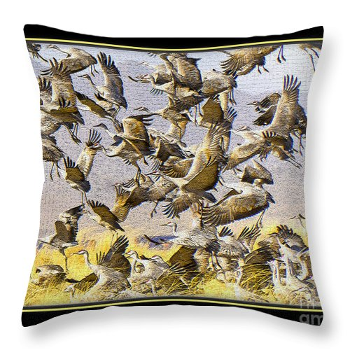 Bird Throw Pillow featuring the photograph Sandhill Cranes Startled by Larry White